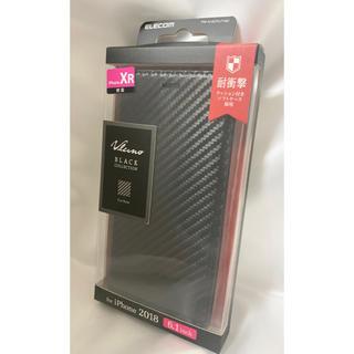 ELECOM - エレコム iPhone XR ケース 手帳型 レザー ブラック(カーボン調)