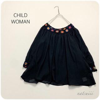 CHILD WOMAN - チャイルドウーマン . インドコットン かぎ針使い チュニック ブラウス