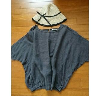 ツムグ(tumugu)のtumugu: ツムグ リネンプルオーバー 濃いグレー(シャツ/ブラウス(半袖/袖なし))