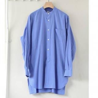 COMOLI - 20ss comoli バンドカラーシャツ サックス コモリ