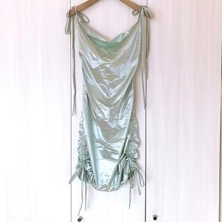 新品 サテン シャーリング タイトドレス  ミニドレス