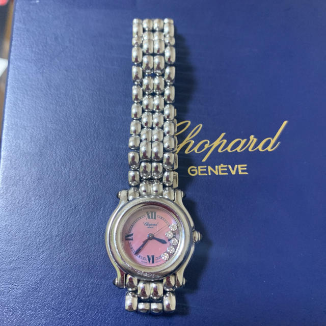 Chopard(ショパール)のショパール ハッピースポーツ ダイヤ5P ピンクシェル レディースのファッション小物(腕時計)の商品写真