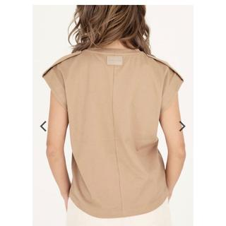 ALEXIA STAM - Sleeveless Epaulet Top Beige