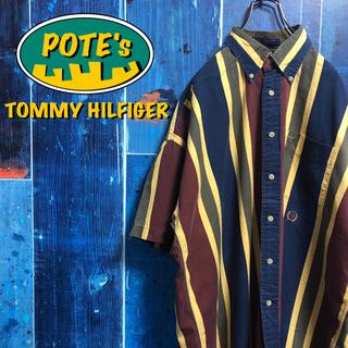 TOMMY HILFIGER - 【トミーヒルフィガー】オールド刺繍ロゴ半袖レトロマルチストライプシャツ 90s