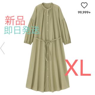 GU - 新品タグ付き★GU  バンドカラーギャザーワンピース(7分袖) グリーン  XL
