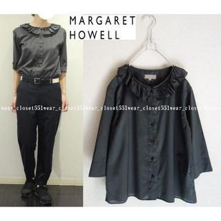 MARGARET HOWELL - 2017 美品マーガレットハウエル☆シアーコットンラッフルカラーフリルブラウス2