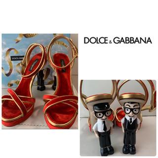 DOLCE&GABBANA - 希少 美品 ドルチェ&ガッバーナ レッドベロア デザイナーズマスコットサンダル