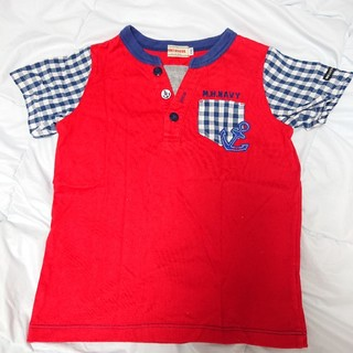mikihouse - MIKI HOUSE 袖チェック☆イカリワッペン付き半袖Tシャツ 110