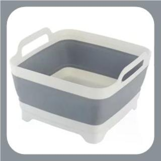 《グレー》洗い桶 たためる キッチン ソフト まな板 食器かご(その他)