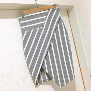 Lily Brown - ストライプ切り替え膝丈スカート