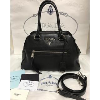 PRADA - 美品 PRADA  2way  レザーハンドバッグ ボストンバッグ