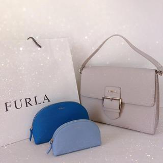 Furla - フルラ ショルダーバッグ バックル レザー クロスボディ 水色と青のポーチ