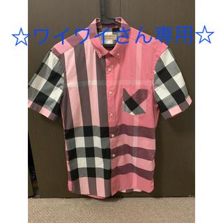 BURBERRY - 【BURBERRY】バーバリーロンドン メンズ半袖チェックシャツ ピンク