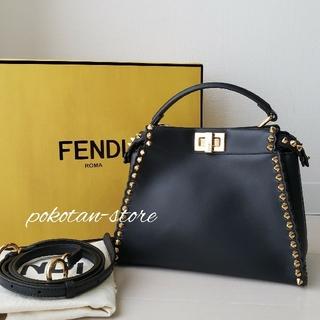 FENDI - 美品【フェンディ】ミニ ピーカブー スタッズ カーフレザー   ハンドバッグ