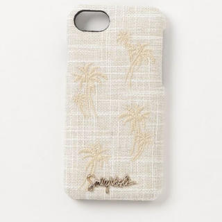 サミールナスリ(SMIR NASLI)の新品✨タグ付き♪ 涼しげな麻素材にヤシの木刺繍♡ハード型タイプ(iPhoneケース)