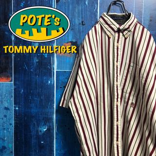 TOMMY HILFIGER - 【トミーヒルフィガー】オールド刺繍ロゴ半袖マルチストライプシャツ 90s