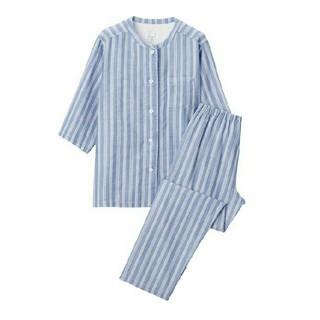 MUJI (無印良品) - 新品 無印良品脇に縫い目のない細番手二重ガーゼ七分袖パジャマ
