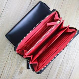 黒/赤 イタリアンレザー ハンドメイド 牛革 本革 手作り 長財布 小銭入れあり