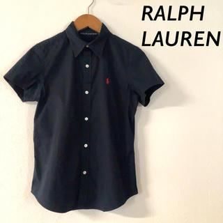 Ralph Lauren - RALPH LAUREN 半袖 コットン シャツ ネイビー レッド 刺繍