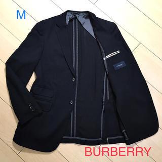 バーバリー(BURBERRY)の極美品★バーバリーロンドン×上質ウール&シルク極上ブラック織りジャケットA821(テーラードジャケット)