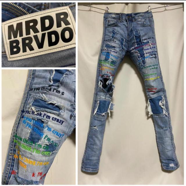 OFF-WHITE(オフホワイト)の定価60500円 EVBRAVADO レインボー刺繍スキニーデニム 28 S メンズのパンツ(デニム/ジーンズ)の商品写真