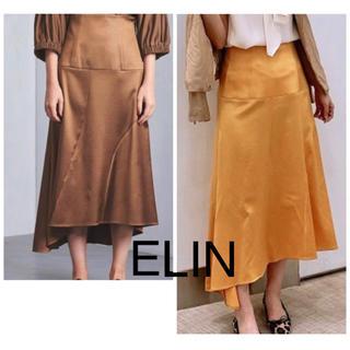 UNITED ARROWS - ELIN  18AW フェイクレザーアシンメトリーロングスカート