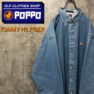 TOMMY HILFIGER - 【激レア】トミーヒルフィガー☆ワンポイントフラッグ刺繍ビッグデニムシャツ 90s