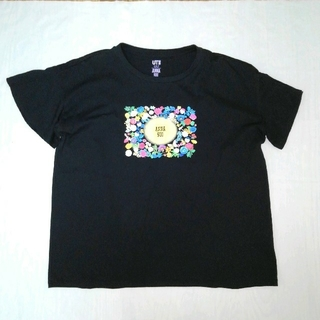 アナスイ(ANNA SUI)の美品 ユニクロ アナスイ 半袖TシャツL ブラック(Tシャツ(半袖/袖なし))