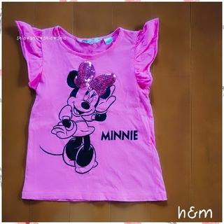 H&M - 《H&M》スパンコールリボンのミニーちゃんの 半袖トップス 122/128