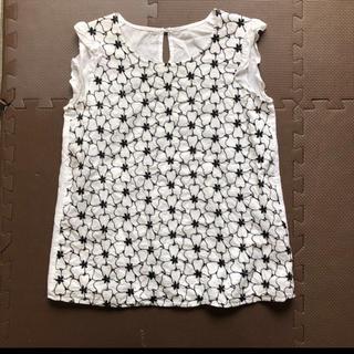 エフデ(ef-de)のef-de 刺繍 トップス 白 花柄 9 M ノースリーブ(シャツ/ブラウス(半袖/袖なし))