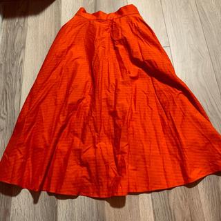 UNIQLO - 新品 未使用 ユニクロ オレンジ 赤 ロング フレアスカート