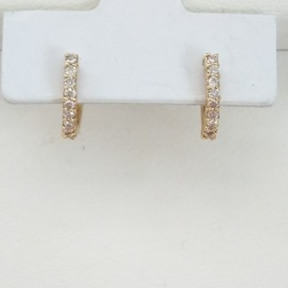 K18 ダイヤモンド ピアス ハーフフープ
