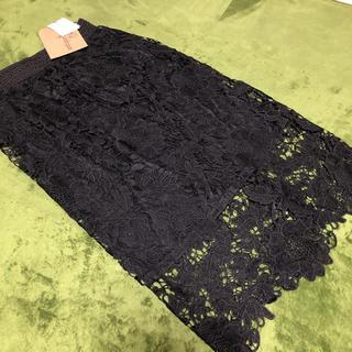 アンティカ(antiqua)の新品 アンティカ antiqua  花柄レース スカート ブラック(ひざ丈スカート)