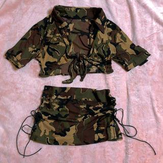 迷彩 ミリタリー シースルー 衣装 スリット ミニスカート