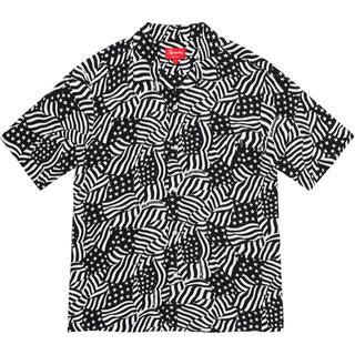 Supreme - M supreme Flags Rayon S/S Shirt Black 新品