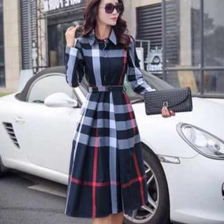BestHit♡チェック柄 ワンピース ドレス スカート レディース ベルト付き