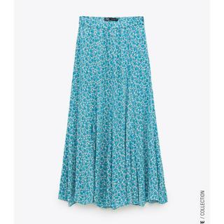 ZARA - ZARAフラワー水色ブルーロングスカート