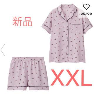 GU - GU サテンパジャマ 半袖&ショートパンツ チェリー ライトパープル  XXL