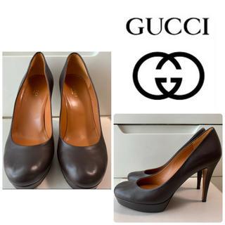 Gucci - GUCCI ダークブラウンレザー パンプス