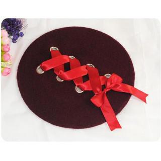 ワインレッド 編み込み レースアップ ベレー帽 帽子 レディース リボン(ハンチング/ベレー帽)