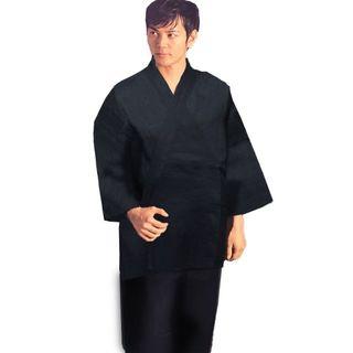 作務衣 男性用 日本製 本麻 麻100% Mサイズ 黒 NO33393(その他)