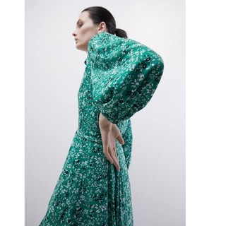 ZARA - 新品 ZARA フラワー柄ワンピース 花柄ワンピース フラワー柄 緑 グリーン