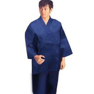 作務衣 男性用 日本製 本麻 麻100% Lサイズ 紺 NO33388(その他)