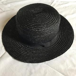 レイビームス(Ray BEAMS)のレイビームス 麦わら帽子 ストローハット かんかん帽 帽子 黒 RayBEAMS(麦わら帽子/ストローハット)