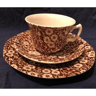 ハロッズ(Harrods)のブラウンキャリコ カップ&ソーサー プレート バーレイ  burleigh(食器)