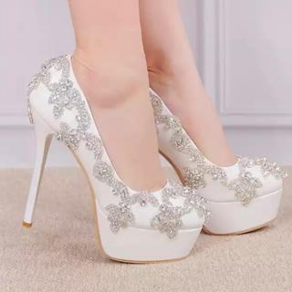 DIANA - シューズ 靴 ハイヒール ヒール キラキラ ビジュー 白 ホワイト ウエディング