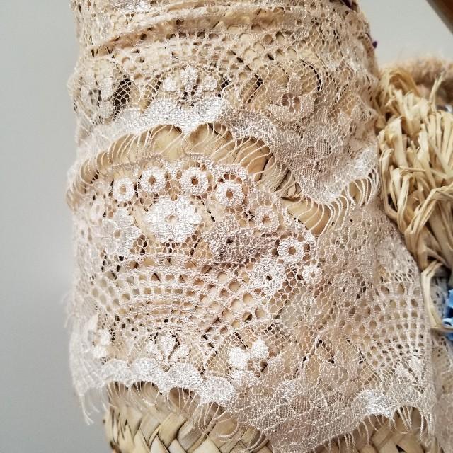 mina perhonen(ミナペルホネン)のAtelier michikoのオーダーマルシェかご/ホワイトレース レディースのバッグ(かごバッグ/ストローバッグ)の商品写真