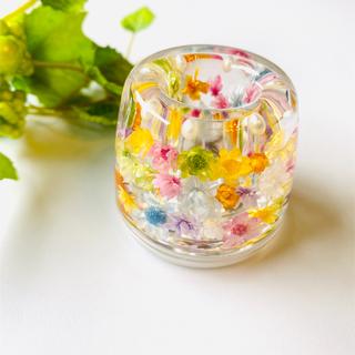 【再販】カラフル☆お花がいっぱい☆固めるハーバリウム ☆ ペン立て(日用品/生活雑貨)