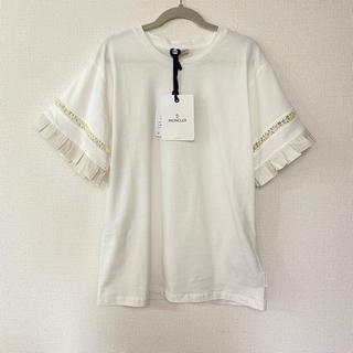 モンクレール(MONCLER)の新作 モンクレール サイズXS  袖フリルTシャツ ホワイト(Tシャツ(半袖/袖なし))