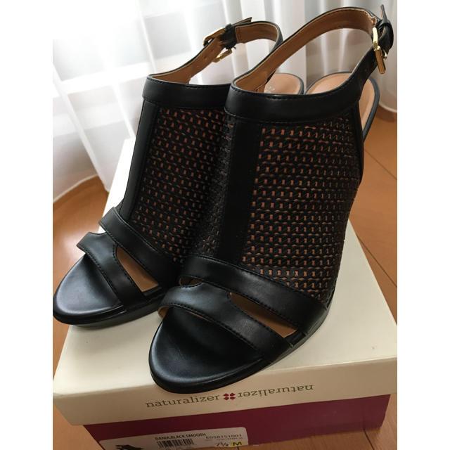 REGAL(リーガル)の naturalizer リーガル(REGAL)本革 黒レザーサンダル24.5㎝ レディースの靴/シューズ(サンダル)の商品写真